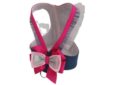 Denim and hot pink dog harness with pink tulle