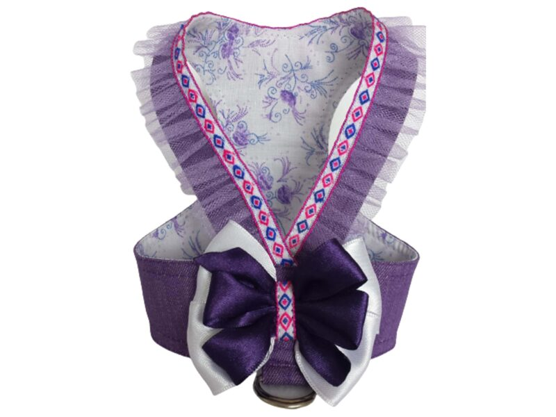 purple denim dog harness with purple tulle