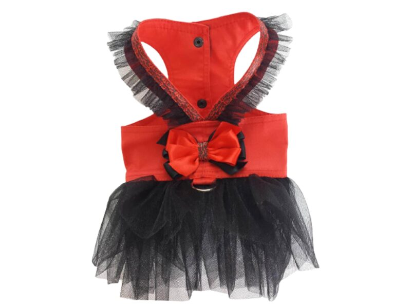 red dog harness with black tulle