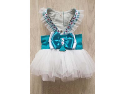 Turquoise Harness White Tutu Skirt