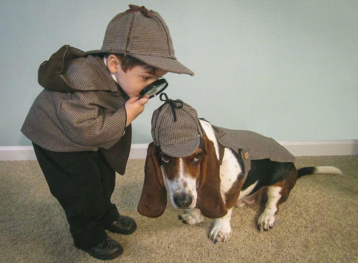 Sherlock Holmes and John Watson dog and kid Halloween Costume