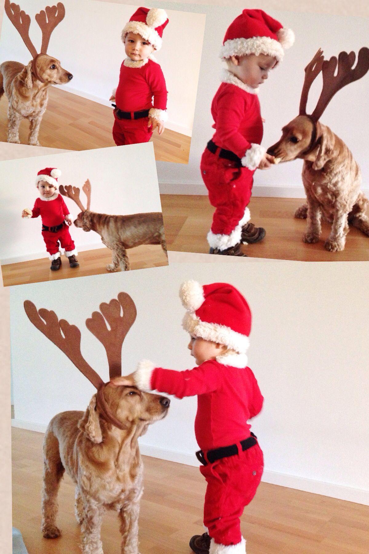 Santa and Reindog dog and kid Halloween Costume