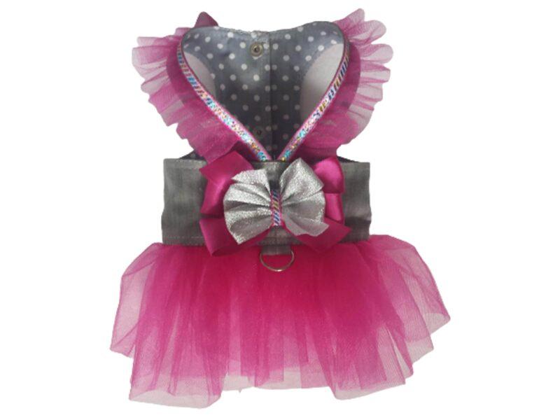 Grey denim hot pink tulle dog harness